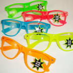 Glow in the Dark Warfarer Look Clear Lense Novelty Glasses