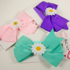 "5"" Bright Color Bow on Stretch Band w/ White Daisy Flower .54 ea"
