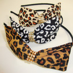 "Black Wrapped Headband w/ 4.5"" Animal Print Bow w/ Clear Stone Center .54 ea"