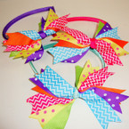 "Colorful Satin Headband w/ 5"" Multi Style Ribbon Bow .54 ea"