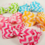 Chevron Print Hair Twister w/ Bow  Asst Brights .52 ea