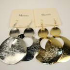 "3"" Gold & Silver Textured Metal Fashion Earring .52 ea"