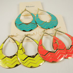 "2"" Classic Oval Shaped Summer Color Fashion Earring .52 ea"