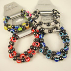2 Pk Eye Bead & Magnetic Hematite Bead Stretch Bracelet Set .56 ea set