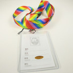 Rainbow Stripe Lanyard w/ ID Badge Holder .54 ea