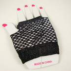 Black w/ Glitter Fish Net Novelty Gloves .54 per pair