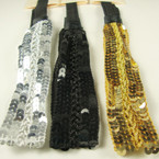 "1.25"" Wide 3 Color Sequin Fashion Headband w/ Elastic Band .54 ea"