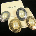 Gold & Silver Textured Oval Earring w/ Pearl .52 ea