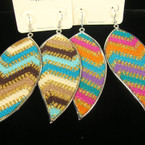 "3"" Multi Color Zig Zag Print Fashion Earring .54 ea"