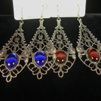 "3"" Antique Silver Fashion Earring w/ Gem Stone Color Beads .52 ea"