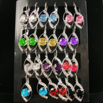 Silver Euro Wire Earring w/ Lg. Crystal Stones 12 pair display