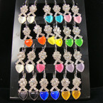 Silver Euro Wire Earring w/ Crystal Stone Ribbon & Cat's Eye Heart 12 pair display