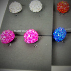 Classy Shamballa Crystal Ball Earrings Mixed Colors .56 ea