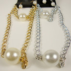 "16"" Gold & Silver Chain Neck Set w/ Chunky Pearl Drop Plus Bracelet .60 ea set"