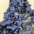 "3"" All Navy Blue Gro Grain Bow on Gator Clip 24 per pk .28 each"