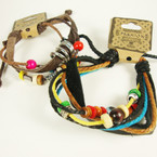 Teen Leather Bracelet Multi Strand w/ Mixed Beads .52 ea