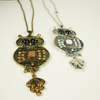"20"" Gold & Silver Chain Neck Set w/ 3"" Owl Pend. w/ Stones .52 ea set"