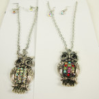 "20"" Silver Chain Neck Set w 1.5"" Cast Owl Pend. w/ Crystals .52 ea set"
