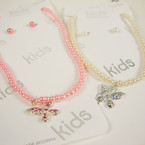 Kid's Glass Pearl Neck Set w/ Silver Butterfly  Pend. w/ Crystal Stones .52 ea set