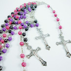 "30"" Mini Cross Beaded Rosary w/ Silver Cross w/ JESUS .54 ea"