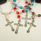 Silver & Colored Crystal Beaded Stretch Bracelet w/ Silver Cross w/ JESUS .54 ea