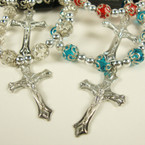 Silver & Colored Crystal Beaded Filigree Bracelet w/ Silver Cross w/ JESUS .54 ea