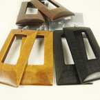 "2.75"" Rectangle Shape Wood Earring Browns/Blk .54 ea"