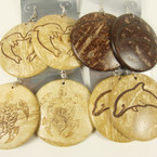 "2"" Rd. Coconut Wood Earring Dolphins/Turtles .54 ea"