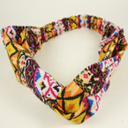 Aztec Print Interlocked Fashion Headband w/ Elastic Back .54 ea