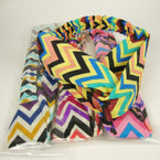 Interlocked Style Chevron Print Headband w/ Elastic Multi Colors  .54 ea