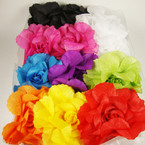 "4"" Crepe Style Flower Bow on 2.5"" Crochet Headwrap .54 ea"
