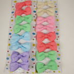 "8 Pack 2"" Solid Color Gro Grain Bow on Gator Clip Pastel Colors"