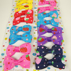 "8 Pack 2""  Strawberry Pattern Print Bow on Gator Clip Asst Bright Colors .50"