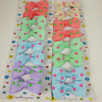 "8 Pack 2"" Poka Dot Print Bow on Gator Clip Asst Lite Colors"