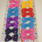 "8 Pack 2"" Poka Dot Print Bow on Gator Clip Asst Bright Colors"