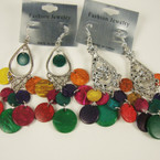 "3"" Silver Fashion Earring w/ Multi Color Coco Wood Disc 2 styles"