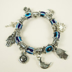 Oval Eye Beaded Silver Charm Bracelet .54 ea
