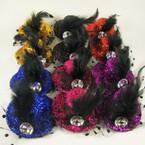 "3"" Sparkle Gator Clip Hat w/ Stone,Lace & Feather .54 ea"