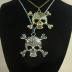 "24"" Gold & Silver Chain Necklace Set w/ Crystal Stone Skull .54 ea"