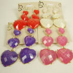 Triple Heart Bubble Stone Fashion Earring w/ Hint of Glitter .45 ea