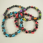 Magnetic Hematite  Eye Beaded Stretch Bracelet 24 per pack .30 ea