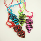 Fun Color DBl Cord Necklace w/ Owl Pendant .54 ea