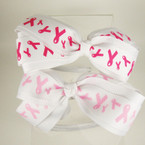"White Satin Headband w/ 5"" Pink Ribbon Gro Grain Bow 2 colors REDUCED .42 ea"
