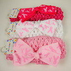 "1.5"" Crochet Headband w/ 4"" Pink Ribbon Bow 3 color REDUCED .42 ea"