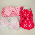 "2.5"" Crochet Headwrap w/ 4"" Pink Ribbon Theme Bow 3 colors REDUCED .42 ea"
