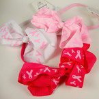 "5"" Pink Ribbon Print Bow on Stretch Headband 3 colors REDUCED .42 ea"
