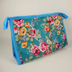 "Big 5"" X 8"" Flower Print Cosmetic Travel Bag w/ Zipper .60 ea"