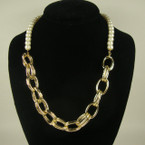 "18"" Glass Pearl Fashion Neck Set w/ Gold/Silver Links .54 ea"