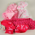 "1.5"" Crochet Headband w/ 3.5"" Pink Ribbon Bow 3 color . 54 ea"