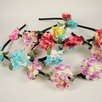 Black Headband w/ Asst Color Flowers Very Trendy .54 ea